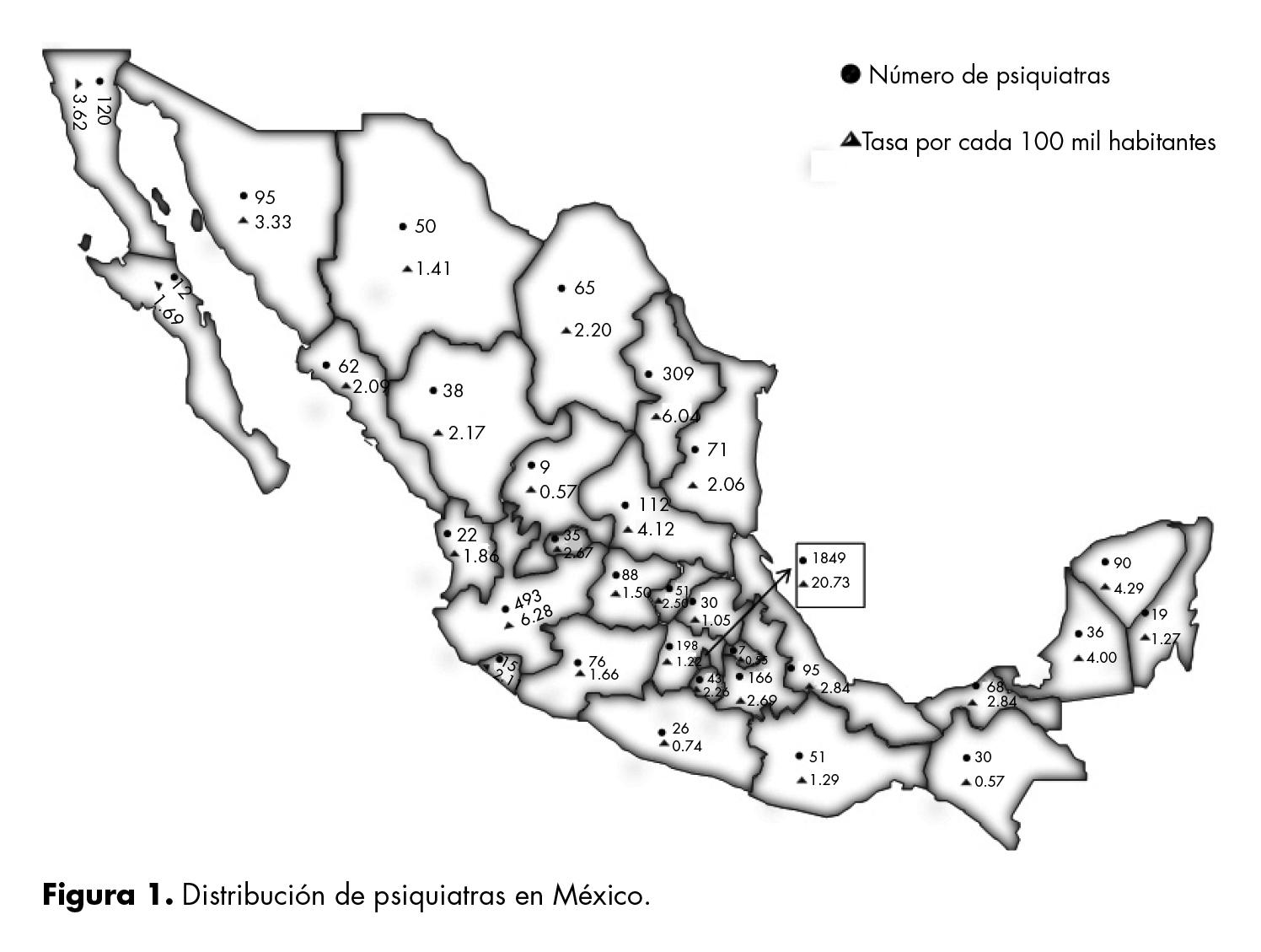 Distribución de psiquiatras en México